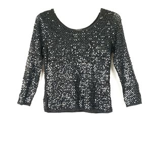 SIGRID OLSEN Knitted by Hand Sequin Black Top S